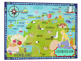 Foam board print  Colorful map Ostfriesland - Elisandra Sevenstar