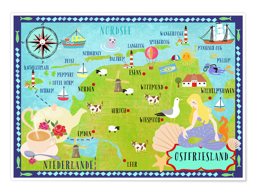 Premium poster Colorful map Ostfriesland