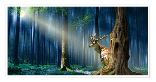 Premium poster The Deer In The Mystical Forest