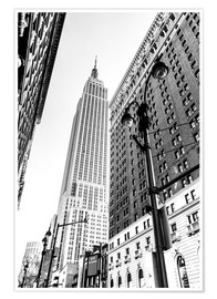 Premium poster New York City - Empire State Building (monochrome)