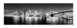 Poster New York City skyline by night (Monochrome)