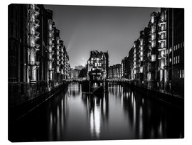 Canvas print  Hamburg by night (monochrome) - Sascha Kilmer
