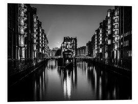 Foam board print  Hamburg by night (monochrome) - Sascha Kilmer