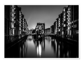 Premium poster  Hamburg by night (monochrome) - Sascha Kilmer