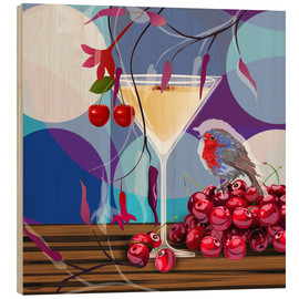 Wood print  Vintage Birdy Cocktail IV - Mandy Reinmuth