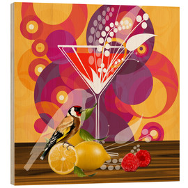 Wood print  Vintage Birdy Cocktail I - Mandy Reinmuth
