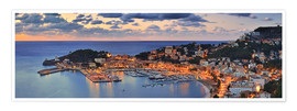 Premium poster  Port Soller Mallorca at night - FineArt Panorama