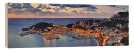 Wood print  Port Soller Mallorca at night - Fine Art Images