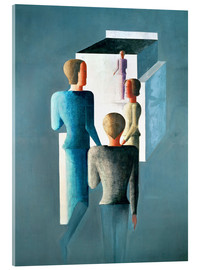 Acrylic print  Four figures and cube - Oskar Schlemmer