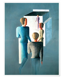 Poster  Four figures and cube - Oskar Schlemmer
