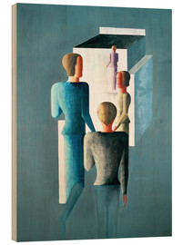Wood print  Four figures and cube - Oskar Schlemmer