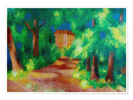 Premium poster  Red house in a parc - August Macke