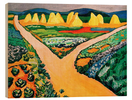 Wood print  Vegetable Fields - August Macke