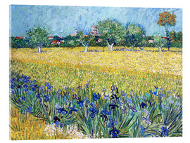 Acrylic glass  Arles with Irises flowers in the foreground - Vincent van Gogh