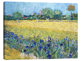 Canvas  Arles with Irises flowers in the foreground - Vincent van Gogh