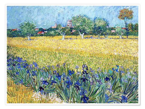 Premium poster View of Arles with Irises in the Foreground