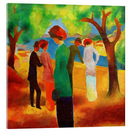 Acrylic print  Lady in a green jacket - August Macke