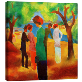 Canvas print  Lady in a green jacket - August Macke