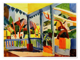 Poster  Terrace of the country house in St. Germain - August Macke