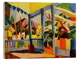 Wood print  Terrace of the country house in St. Germain - August Macke