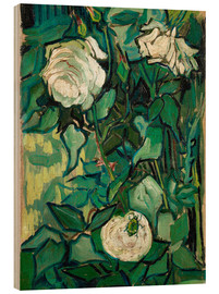 Wood print  Roses and Beetle - Vincent van Gogh