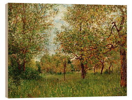 Wood print  Small Meadow in By - Alfred Sisley