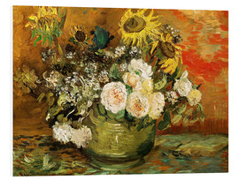 Foam board print  Roses and sunflowers - Vincent van Gogh
