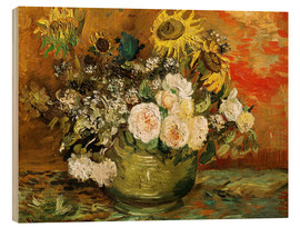 Wood print  Roses and sunflowers - Vincent van Gogh