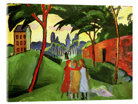 Acrylic print  Landscape with Three Girls - August Macke