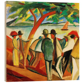 Wood print  Stroller on the lake - August Macke