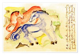 Poster Red and Blue Horses