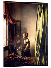 Acrylic print  Girl reading a letter at an open window - Jan Vermeer