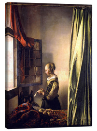 Canvas print  Girl reading a letter at an open window - Jan Vermeer