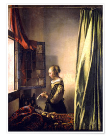 Poster  Girl reading a letter at an open window - Jan Vermeer