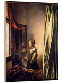 Wood print  Girl reading a letter at an open window - Jan Vermeer