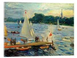 Acrylic print  Sailboats on the Alster Lake in the evening - Max Slevogt