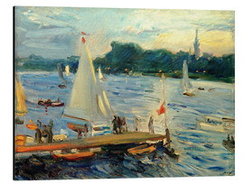Max Slevogt - Sailboats on the Alster Lake in the evening