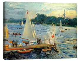 Canvas print  Sailboats on the Alster Lake in the evening - Max Slevogt