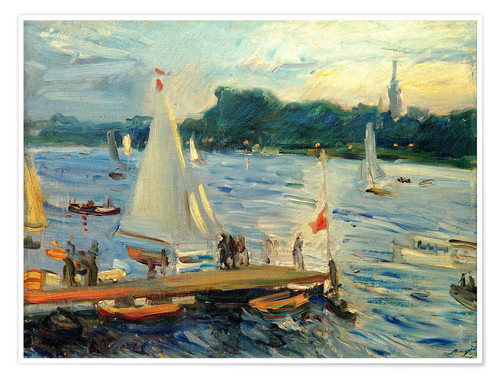 Premium poster Sailboats on the Alster Lake in the evening