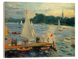 Wood print  Sailboats on the Alster Lake in the evening - Max Slevogt