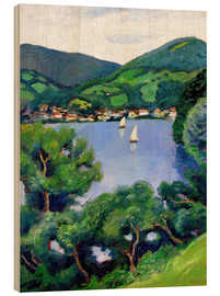 Wood print  View of Tegernsee lake - August Macke