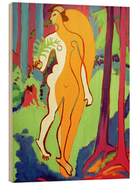 Wood print  Nude in Orange and Yellow - Ernst Ludwig Kirchner