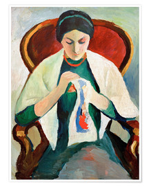 Premium poster  Woman Sewing - August Macke