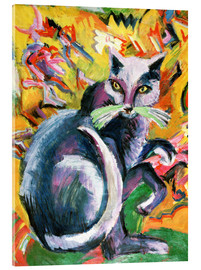 Acrylic print  Gray tomcat on pillow - Ernst Ludwig Kirchner