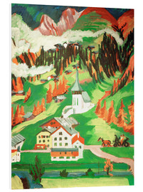Foam board print  Frauenkirch in the autumn - Ernst Ludwig Kirchner