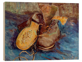 Wood print  The Shoes - Vincent van Gogh