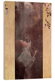 Wood print  Love - Gustav Klimt