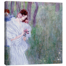Canvas print  Girl with flowers at the edge of a forest - Gustav Klimt