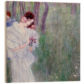 Wood print  Girl with flowers at the edge of a forest - Gustav Klimt
