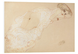 Foam board print  Lying on her stomach - Gustav Klimt